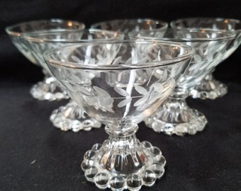 Etched Anchor Hocking  Candlewick, Berwick Boopie Sherbet Glasses, Coup Champagne Glasses, Dessert Glasses     (1124)