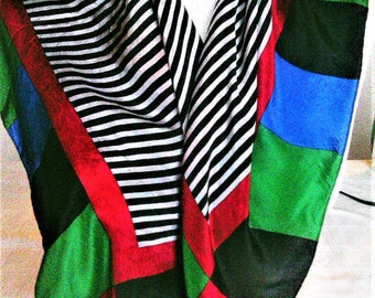 Vintage  Silken Head Scarf or Neckerchief With Black And White Stripes And A Multi Colored Border On Edge