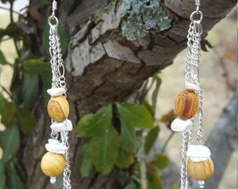 Palo Santo Bead Earrings with Howlite and Shell