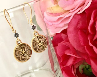 Antique Gold Labyrinth Earrings