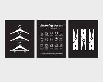 Laundry Room Art, Set of Three Prints, Laundry Symbols, Vintage Laundry Sign, Black Laundry Room Prints, Clothespins, Hangers