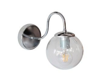 Chrome Industrial Glass Wall Sconce Light Hallway Lamp Living Room Home Decor Bathroom Lighting