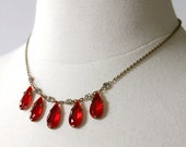 vintage 1930s necklace <> 1930s red glass teardrop necklace <> 30s red glass and rhinestone necklace on a brass chain