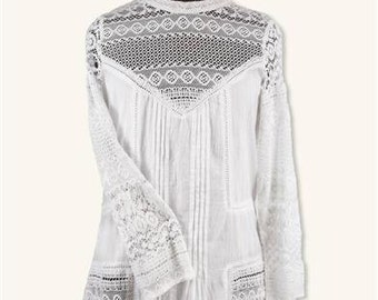 Womens Peasant Blouse - White Cotton Lace