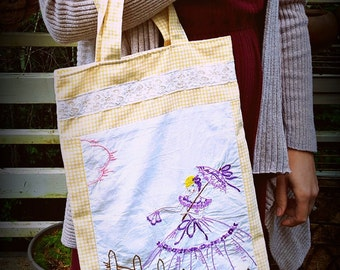 Upcycled Vintage Bag, Southern Belle, Tote Bag, Library Bag, Market Bag, Vintage Embroidery, Vintage Linens, Shabby Chic, Gifts for Women