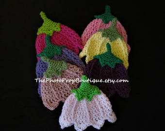Tulip Hat- Baby and Child crocheted flower hat. You choose colors. Preemie, Newborn, 0-3, 3-6, 6-12, toddler  Photo prop.  Free Shipping