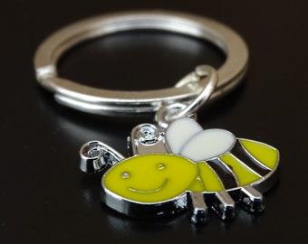 Bee Keychain, Custom Keychain, Custom Key Ring, Bee Charm, Bee Pendant, Bee Jewelry, Honey Bee Keychain, Bumble Bee Keychain, Bumble Bee