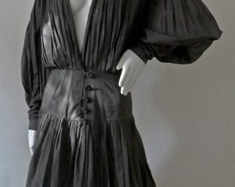 Stunning Rare Vintage 1970s Norma Kamali Pleated Cotton Voile Mini Dress w/ Iconic Sleeve