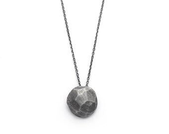 Silver faceted pendant - Silver faceted - Oxidized pendant