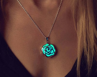 Rose Necklace - Flowers - Glow in the Dark Necklace - Glow in the Dark Jewelry - Glowing Rose Necklace - Silver Rose Pendant - Gifts for Her