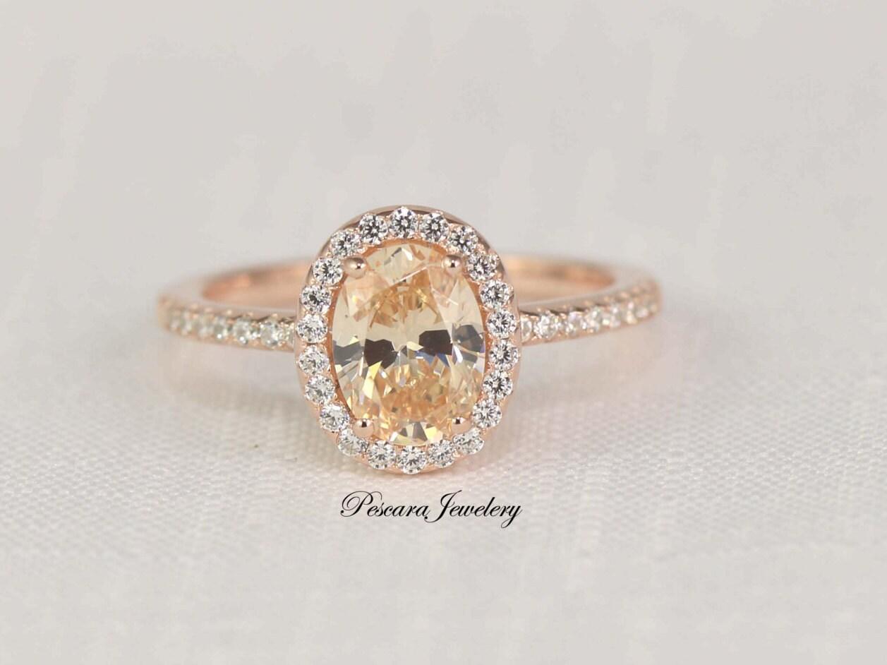 15 Carat Rose Gold Engagement Ring, Morganite Ring, Oval Engagement Ring,  Oval Cut