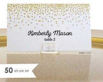 50 Wedding Place Cards- Escort Card- Gold Wedding Place Cards- Wedding Name Cards- Gold Place Cards- Gold Placecards- Wedding Tent Cards