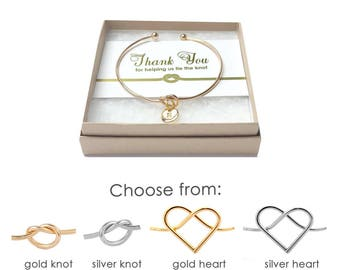 Silver/Gold Knot Bracelet- Thank You for Helping Me Tie the Knot- Knot Bracelet Bridesmaid- Bridesmaid Thank You Gift- Tie the Knot Bracelet