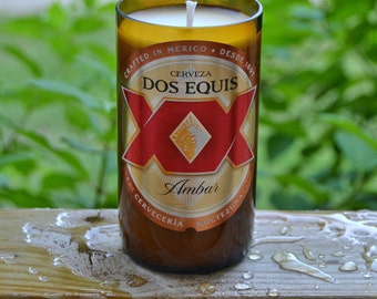 Dos Equis Amber Lager beer bottle candle made with soy wax