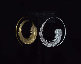 Feather Earrings, Hoop Earrings, Swirl Hoop Earrings, Spiral Gypsy Earrings, Tribal Earings, Brass Earrings, Boho chic Jewelry