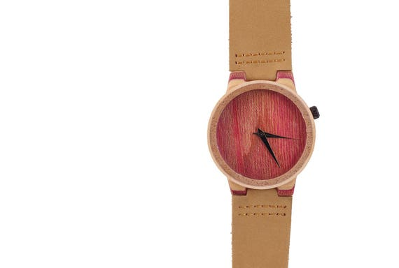 7PLIS watch #66 Recycled SKATEBOARD #madeinfrance brown pink raspberry wood