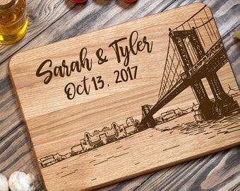 Wood Cutting Board, Manhattan Bridge, Chopping Board, Cutting Board, Custom Cutting Board, Personalized, Wedding Gift, Housewarming Gift