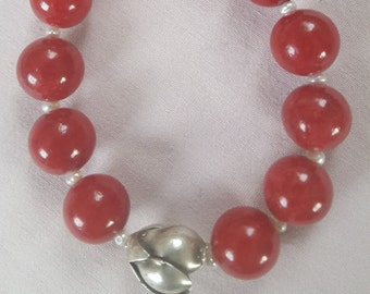 Red jade beads and silver