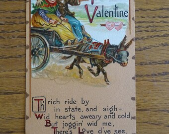 Antique Tuck's Valentine Post Card, Early 1900's Greeting Card, Leatherette Textured Postcard, Raphael Tuck & Sons, Printed in Saxony ~