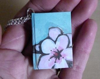 Mini book necklace, hardback miniature cherry blossom notebook, floral blue book necklace, book jewellery