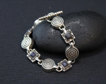 Rare Sterling Silver Designer Signed Lisa Jenks Modernist Collectible Lapis Link Bracelet with Toggle Clasp