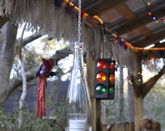 Hanging Wine Bottle with Copper Trim and Votive