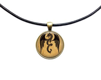 Mad dragon pendant Antique jewelry Fantasy necklace
