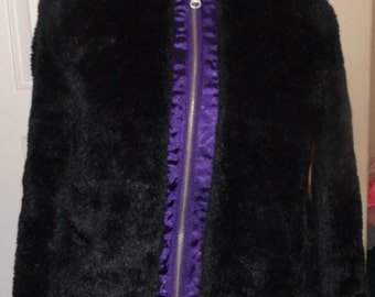 SALE Girls Teens Black Faux Fur Bomber Jacket Coat Hooded Goth