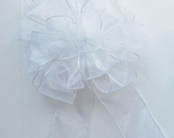 Sheer Wired Bow - White - Wired Bow - 16 Loops