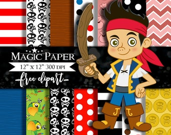 50% OFF SALE Jake and the Neverland Pirate Digital Paper Clipart Clip Art, Digital Papers, Cliparts