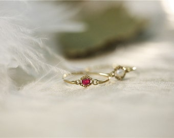 Ruby Ring Vintage - July Birthstone Ring, Ruby Ring, Ruby Ring Gold, Dainty Birthstone Ring, July Birthstone Jewelry, Custom Birthstone Ring