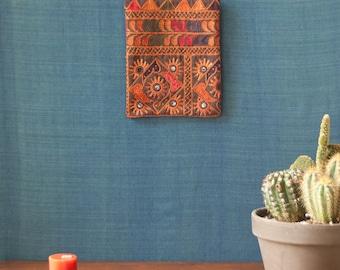 Indian wedding gift, Mini wall hanging, mini wall art, vintage tapestry, Indian mirror work rug, kuchi tapestry, wall art piece