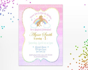 Unicorn Birthday Invitation - Pastel Rainbow Invite - Gold Unicorn - Girl Birthday - Magical Party - Rainbow Glitter - Digital - Printable