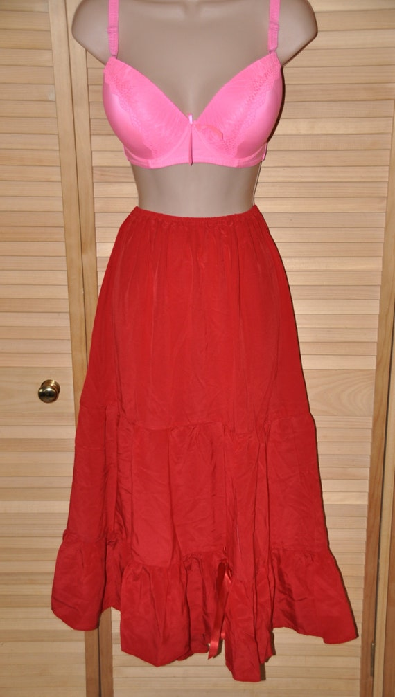SALE   --  Red silk gypsy styled petticoat, flowing silky softness for girly dressing up fun, Sissy Lingerie