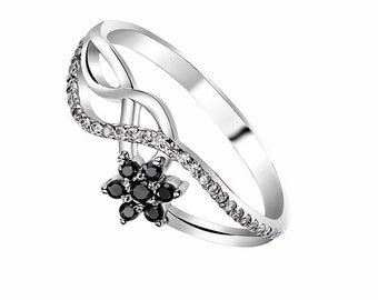 Black Engagement Ring Black Promise Ring for Her Flower Engagement Ring Black Wedding Ring Delicate Engagement Ring Infinity Ring Twist Ring