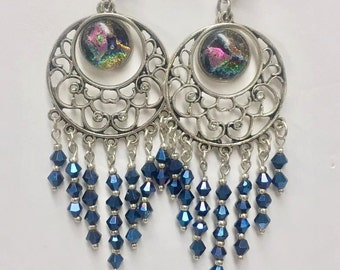 Chandelier earrings with hand crafted dichro center pieces  by Shawna Hovey