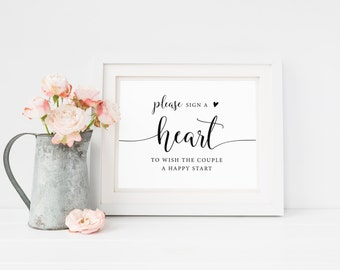 Please Sign a Heart Sign, Sign a Heart Guestbook, Sign a Heart Printable, Wedding Signage, Guestbook Sign, Reception Sign, Heart Guestbook