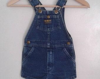 Vintage 1980's Kids' Oshkosh Med Blue Denim Overall Shorts Sz 4 4T Classic Sesame Street Farmer
