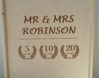 Personalized Anniversary Wine Box, Wedding Gift, 3 bottles Wooden Wine Box, Anniversary box with 1 lid