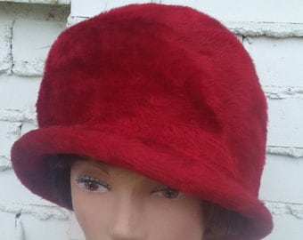 Vintage Italian women's hat by Selene Burgundy crimson red cloche faux fur Maroon lady's hat I J Herman NYC Made in Italy 1950's