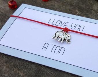 Elephant Bracelet, Elephant Jewelry, I Love You a Ton, Elephant Wish Bracelet, Elephant Gift, Elephant, Elephants, Elephant Lover Gift