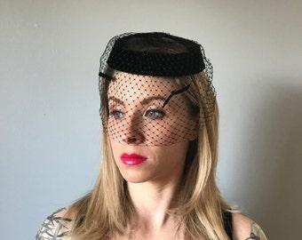 Vintage Black Velvet Fascinator Hat