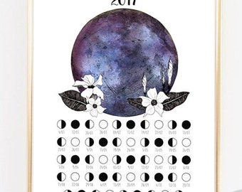 Calendrier lunaire 2017-Calendrier de la Lune-Phases de la Lune-Calendrier 2017-Calendrier imprimable-Art de la Lune-Poster de la Lune-Lune