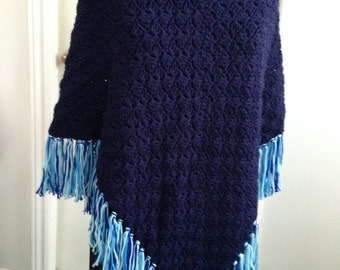 Crochet Poncho in Navy Blue has Collar and Fringe, ideal for Cool Summer evenings and Fall, a lovely Gift for Her, Women, Teens, Children