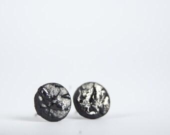 porcelain earrings, rustic earrings, raw earrings, black stud earrings, mens earrings, earrings for men, ceramic earrings, small earrings