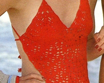 Vintage One Piece Swimsuit Maillot Crochet Pattern PDF Instant Download