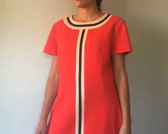 1960s Mod Shift Dress Red White Navy Blue Color Block Size Medium