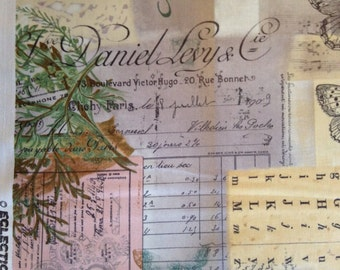 Butterflies, Script, Botanical on Pale Background by Tim Holtz for Eclectic Elements, 100% Cotton
