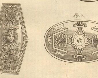 1804 Rare Antique Shields Print Engraving Armor War Battle Laid Paper Encyclopédie Méthodique Recueil D'Antiquites French Paris
