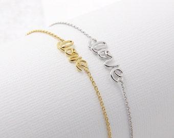 Love Bracelet - Love Wire Bracelet - Everyday Layering Bracelet - Modern Bracelet - Delicate Bracelet - Adjustable Bracelet - Gift for Her